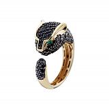Золотое кольцо Пантера с бриллиантами и цаворитами