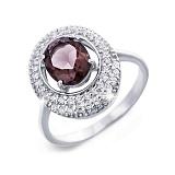 Женское серебряное кольцо с раухтопазом Мелоди