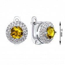 Серебряные серьги с желтыми хризолитами и фианитами 000134877