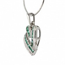 Серебряный кулон с изумрудами и бриллиантами Большое сердце