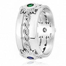 Кольцо из серебра Солнечные орнаменты с фианитами