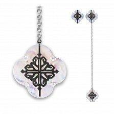 Серебряные серьги-подвески Лакшери с перламутром и красным корундом