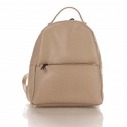 Кожаный рюкзак Genuine Leather 8988 цвета тауп с карманом на молнии
