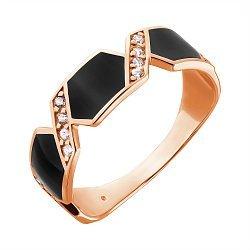 Золотое кольцо с черной эмалью и фианитами 000010774
