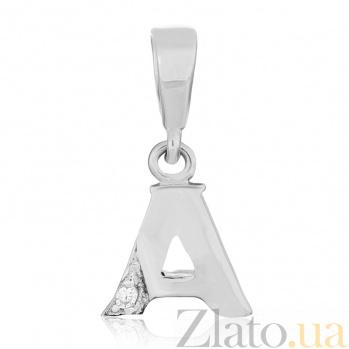 Серебряный подвес с кристаллом циркония Буква А 000025306