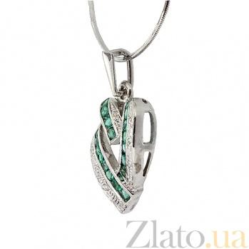 Серебряный кулон с изумрудами и бриллиантами Большое сердце 000022264