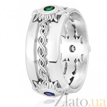 Кольцо из серебра Солнечные орнаменты с фианитами 000030969