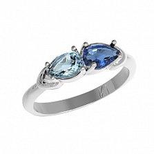 Серебряное кольцо Арлина с кварцем под лондон топаз и голубым кварцем