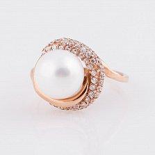 Золотое кольцо Перл с жемчугом и фианитами