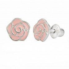 Детские серебряные серьги-пуссеты Розочка с розовой эмалью, 7х8мм