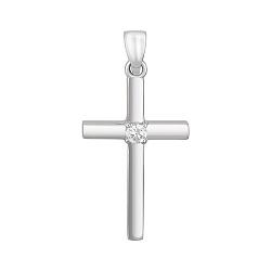 Крестик в белом золоте Поклонение с бриллиантом