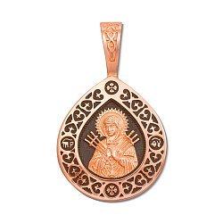 Ладанка из красного золота Божия Матерь Семистрельная с чернением 000137037