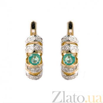 Золотые серьги с бриллиантами и изумрудами Фурия 000021894