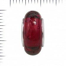 Серебряный шарм Вишневый джем с красным муранским стеклом