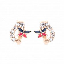 Золотые серьги Машенька с белыми фианитами и бабочками из красной и синей эмали