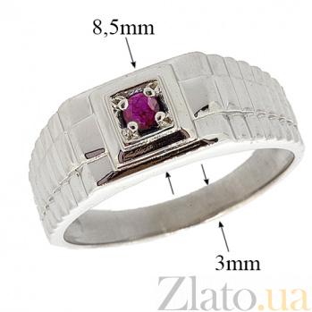 Серебряный перстень с рубином Ричард 000030743