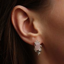 Серебряные серьги Дыхание нежности с розовым кварцем и фианитами