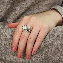 Серебряное кольцо Шарм с имитацией малахита и белыми фианитами в стиле Ван Клиф