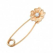 Золотая булавка Цветок нежности с бриллиантом