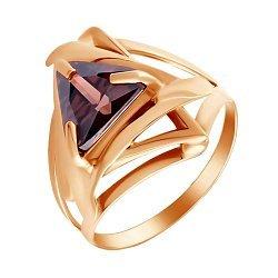 Кольцо из красного золота с коньячным цирконием 000099183