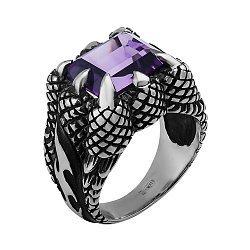 Серебряный перстень Драконья лапа с аметистом 000033340