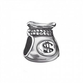 Срібний шарм Мішечок з доларами 000118340