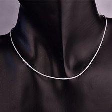 Светло-серый шелковый шнурок Бриз с серебряным замком,1мм
