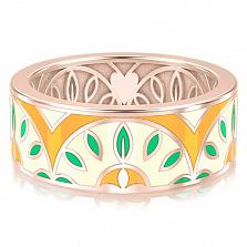 Обручальное кольцо из розового золота с эмалью Талисман: Мира
