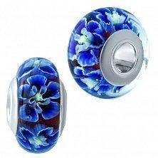 Серебряный шарм Синие фиалки с муранским стеклом
