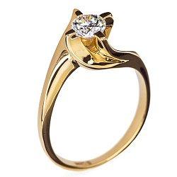 Золотое кольцо Грета с бриллиантом
