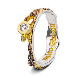 Серебряное кольцо Иллирия с цирконием, позолотой и чернением