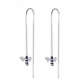 Серебряные серьги-протяжки с фианитами и черной эмалью 000095724