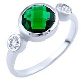 Серебряное кольцо Сумати с синтезированным изумрудом и фианитами