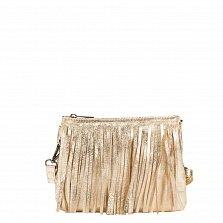 Кожаный клатч Genuine Leather 1612 мягкого золотистого цвета с бахромой и застежкой-молнией