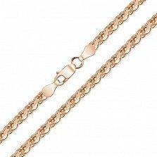 Серебряная позолоченная цепочка Ручеёк с алмазной гранью, 3мм