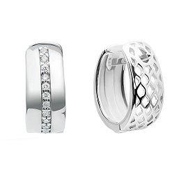 Серебряные серьги Вайд Ринг в форме кольца с дорожкой из белых фианитов