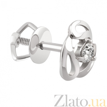 Серьги-пуссеты из белого золота с бриллиантами Поцелуй KBL--С2404