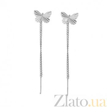 Серебряные родированные серьги-протяжки Бабочки с насечкой 000097495