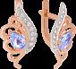 Золотые серьги с топазами и фианитами Фарида VLN--113-1253-1