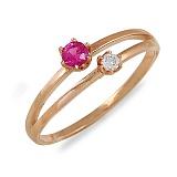 Кольцо Кира из красного золота с бриллиантом и сапфиром