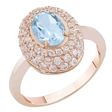 Золотое кольцо Виндзор с голубым топазом и фианитами