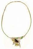 Золотое колье Летний подсолнух с изумрудами и бриллиантами