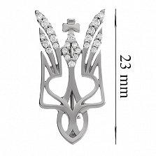 Серебряная брошь Крылатый герб с фианитами