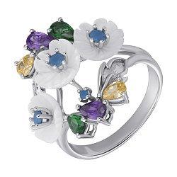 Серебряное кольцо Зачарованный букет с перламутром и разноцветными фианитами