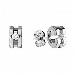 Серебряные серьги-пуссеты Ирина с бриллиантами 000072681