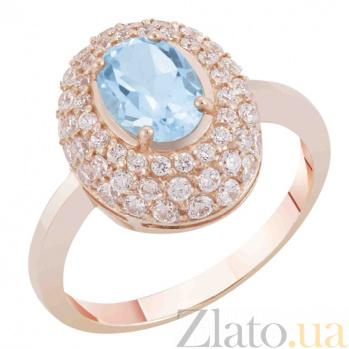 Золотое кольцо Виндзор с голубым топазом и фианитами SVA--1194991/Топаз голубой