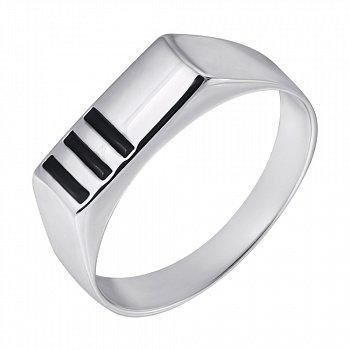 Серебряный перстень-печатка с черными полосками эмали 000093474