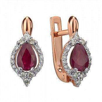 Золотые серьги в комбинированном цвете с рубином и бриллиантами 000145442