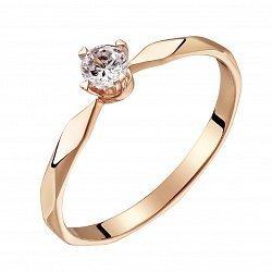 Помолвочное кольцо из красного золота с бриллиантом 0,12ct 000034672