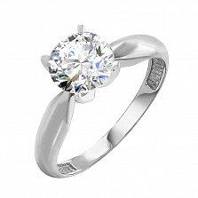 Кольцо из белого золота Патриция с кристаллом Swarovski